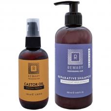 Set reparator pentru păr cu extract din lapte de capră și ulei de ricin - Recover - Remary - 2 produse