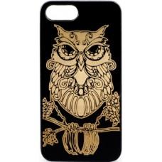 "Husa vintage din lemn acacia pentru iPhone 7/8, pirogravura - Acacia wood vintage case for iPhone 7/8, phirography ""owl"" - wisdom Feng Shui symbol"
