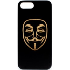 "Husa vintage din lemn acacia pentru iPhone 7/8, pirogravura - Acacia wood vintage case for iPhone 7/8, phyrography ""anonim mask"""