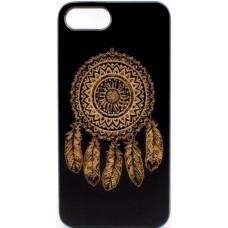 "Husa vintage din lemn acacia pentru iPhone 7/8, pirogravura - Acacia wood vintage case for iPhone 7/8, phyrography ""Talisman Dreamcatcher"""