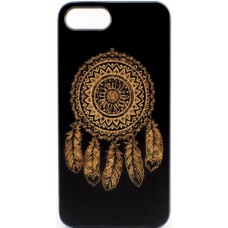 "Husa vintage din lemn acacia pentru iPhone 7/8 Plus, pirogravura - Acacia wood vintage case for iPhone 7/8 Plus, phyrography  ""Talisman Dreamcatcher"""