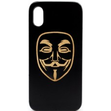 "Husa vintage din lemn acacia pentru iPhone X, pirogravura - Acacia wood vintage case for iPhone X, phyrography ""Anonim mask"""