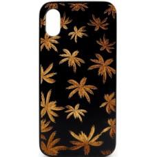 "Husa vintage din lemn acacia pentru iPhone X, pirogravura - Acacia wood vintage case for iPhone X, phyrography ""Maria Leaves"""