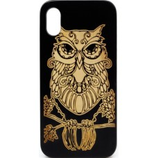 "Husa vintage din lemn acacia pentru iPhone X, pirogravura - Acacia wood vintage case for iPhone X, phyrography ""Owl"" - wisdom Feng Shui symbol"""