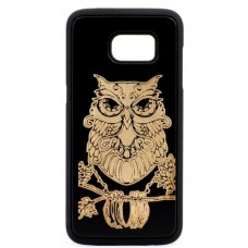 "Husa vintage din lemn acacia pentru Samsung Galaxy S7, pirogravura - Acacia wood vintage case for Samsung Galaxy S7, phyrography ""Owl"" - wisdom Feng Shui symbol"""