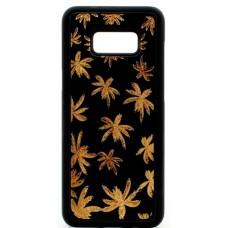 "Husa vintage din lemn acacia pentru Samsung Galaxy S8, pirogravura - Acacia wood vintage case for Samsung Galaxy S8, phyrography ""Maria Leaves"""