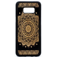 "Husa suvenir din lemn acacia pentru Samsung Galaxy S8, pirogravura - Acacia wood vintage case for Samsung Galaxy S8, phyrography ""Oriental Mandala"""