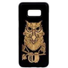 "Husa vintage din lemn acacia pentru Samsung Galaxy S8, pirogravura - Acacia wood vintage case for Samsung Galaxy S8, phyrography "" Owl"" - wisdom Feng Shui symbol"""