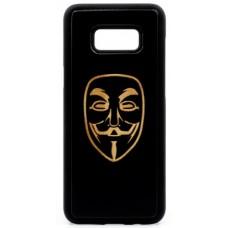 "Husa vintage din lemn acacia pentru Samsung Galaxy S8 Plus, pirogravura - Acacia wood vintage case for Samsung Galaxy S8 Plus, phyrography ""Anonim Mask"""