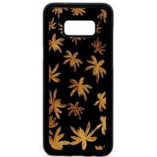"Husa vintage din lemn acacia pentru Samsung Galaxy S8 Plus, pirogravur - Acacia wood vintage case for Samsung Galaxy S8 Plus, phyrography ""Maria Leaves"""