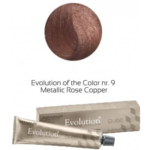 Vopsea Permanenta Profesionala - 9 Metalic Rose Cooper - Evolution Of The Color Cube - Alfaparf Milano - 60 Ml
