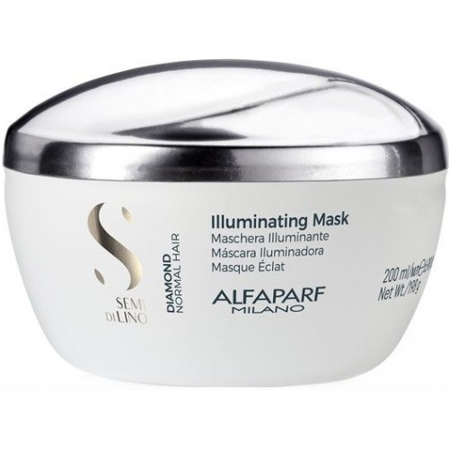 Masca Tratament De Stralucire Pentru Par Normal - Illuminating Mask - Semi Di Lino - Diamond - Alfaparf - 200 Ml