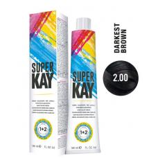 Vopsea de par profesionala permanenta - 2.00 - Hair Color Cream - Super Kay - 180 ml