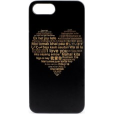 "Husa minimalista din lemn acacia pentru iPhone 7/8 Plus, pirogravura - Minimalist  acacia wood case for Iphone 7/8 Plus, pyrography  ""Heart with a Multilingual Message"""