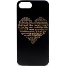 "Husa minimalista din lemn acacia pentru iPhone 7/8 Plus, pirogravura - Minimalist  acacia wood case for Iphone 7/8 Plus, pyrography  ""Heart with a Multilingual Message"""