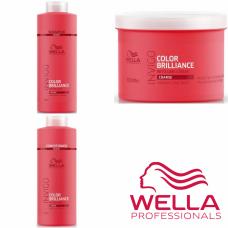 Kit mare pentru par vopsit cu structura groasa - Invigo Color Brilliance -  Coarse - Wella Professionals - 3 produse cu 35% discount